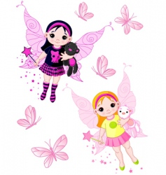 Little fairies flying with butterflies vector