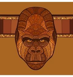 Ape gorilla head with ethnic ornament vector