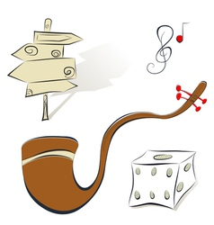 Set of s sign tobacco pipe dice vector