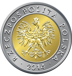 Obverse polish money five zloty coin vector
