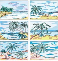 Sketches of landscapes with palm trees on sea coas vector