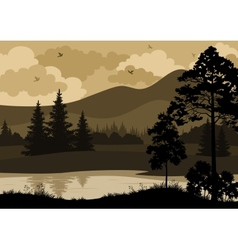 Landscape trees mountains and river vector
