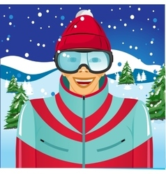 Smiling skier with ski goggles vector