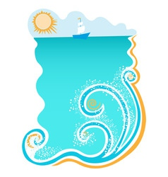 Sea with waves vector