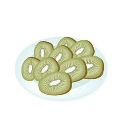 Delicious fresh kiwi in a white plate vector
