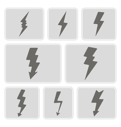 Monochrome icons with lightning vector