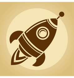 Vintage rocket in space vector