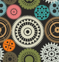 Seamless gear background retro color vector