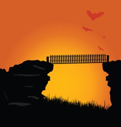 Bridge of the cliff with bats color vector
