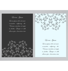 Black and white flyers with ornate floral pattern vector