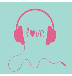 Pink headphones with cord love card vector