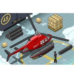 Isometric arctic emergency helicopter in rear view vector