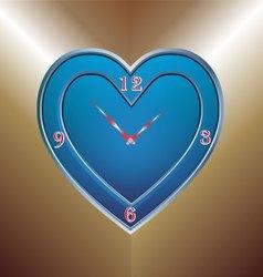 Blue heart clock vector