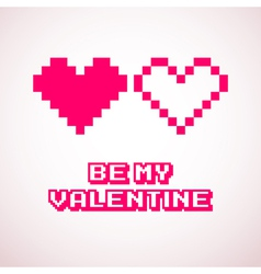 Pixel hearts for valentines day cards designs vector
