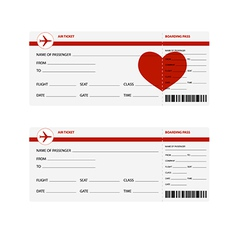 Plane tickets heart vector
