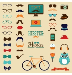 Hipster retro vintage icon set vector