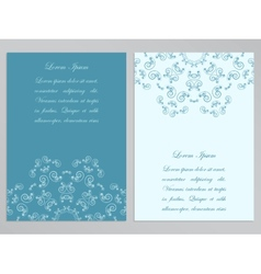 Blue and white flyers with ornate floral pattern vector