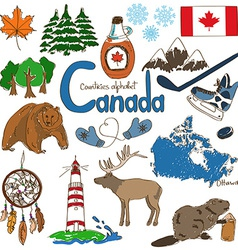 Collection of canada icons vector