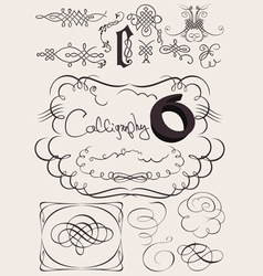 Set of calligraphy elements vector