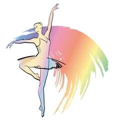 The woman dances ballerina vector