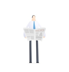 Young businessman reads the news vector