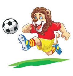 Lion playing soccer vector
