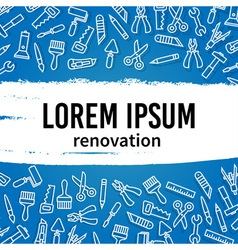 Linear renovation tools with text frame vector