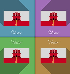 Flags gibraltar set of colors flat design and long vector