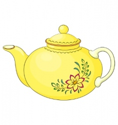 Teapot with flower pattern vector
