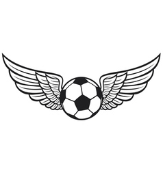 Football ball with wings emblem vector