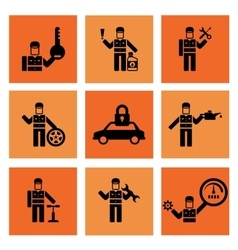 Auto service car mechanic repair icons vector