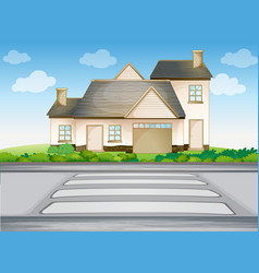 A house and zebra crossing vector