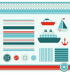 Sea theme elements for scrapbooking vector