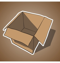 Open box with white outline cartoon vector