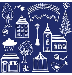 Small town design elements vector