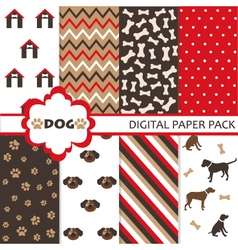 Dog scrapbooking paper set vector