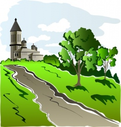 House on hill vector