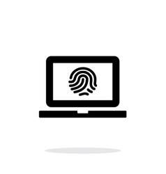 Laptop fingerprint icon on white background vector