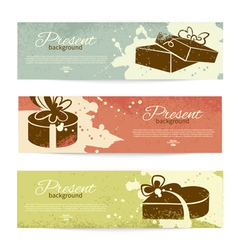 Present backgrounds with gift box vector