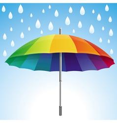 Umbrella and rain drops in rainbow colors vector