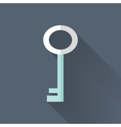 Flat key icon over blue vector