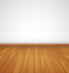 Realistic wood floor and white wall vector