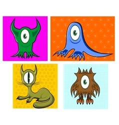 Cartoon funny one eyed colorful animals vector