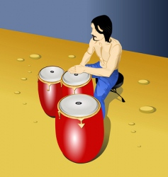 Drummer on beach vector