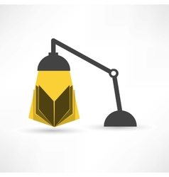 Study with a book and lamp vector