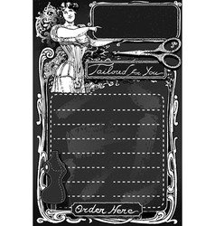 Vintage blackboard for tailor shop vector