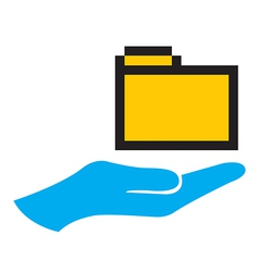 Hand and folder icon vector