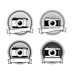 Black and white camera stamps vector