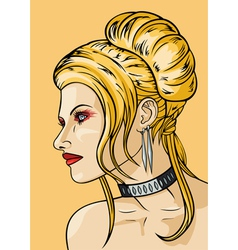 Girl with hairdress in the babetta style vector