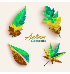 Fall season triangle leaves composition icon set vector